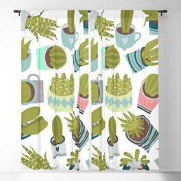 Abstract pink coral green floral cactus plants Blackout Curtain