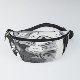Cat Meow Black and White Hand drawn illustration of cat Fanny Pack