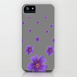 PURPLE FLOWERS COLLAGE CHARCOAL GREY iPhone Case