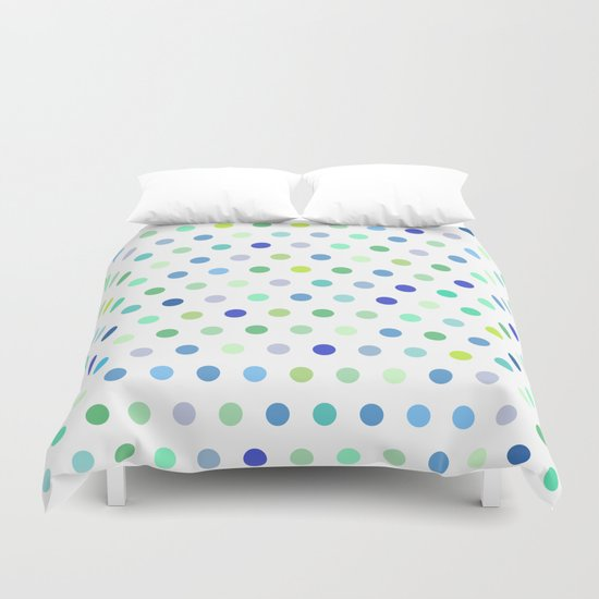 polka dots blue green duvet cover by jenna mhairi society6. Black Bedroom Furniture Sets. Home Design Ideas