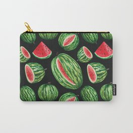 Vibrant Watercolor Watermelon on Black Carry-All Pouch