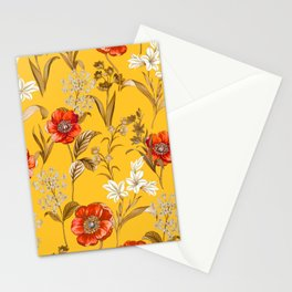 Floral Pattern Ocre Background Bright Colours Stationery Cards