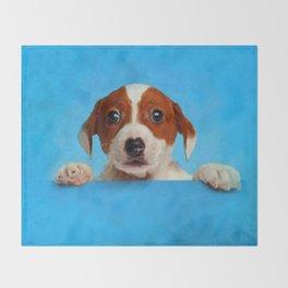 Cute Jack Russell Terrier Puppy Throw Blanket