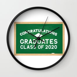 Congratulations to graduates class of 2020 lettering  on green chalkboard with wooden frame.  Wall Clock