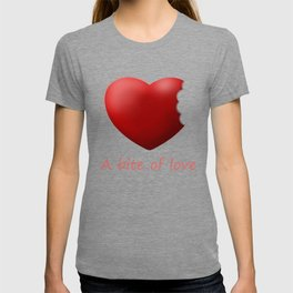 a bite of love (nibbled heart) pink T-shirt