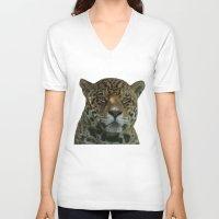 jaguar V-neck T-shirts featuring Jaguar by Sean Foreman