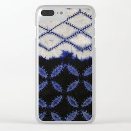 V42 Dark Blue Traditional Moroccan Texture Clear iPhone Case