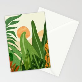 Summer In the Jungle / Contemporary Sunset Scene Stationery Cards