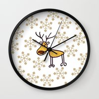 reindeer Wall Clocks featuring Reindeer by Mr and Mrs Quirynen