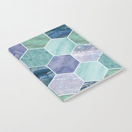 Mixed greens & blues - marble hexagons Notebook