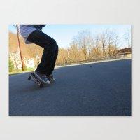 skateboard Canvas Prints featuring Skateboard by Mechanical Kayla