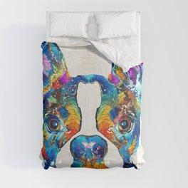 Colorful Boston Terrier Dog Pop Art - Sharon Cummings Comforters