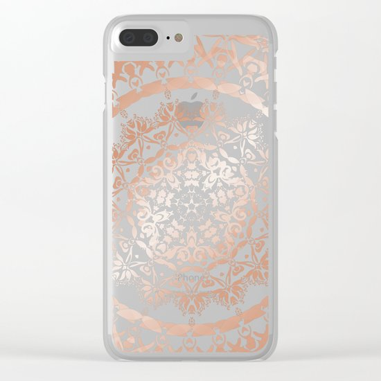 Rose Gold Gray Floral Mandala Clear iPhone Case