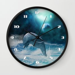 Freedom of dolphins Wall Clock