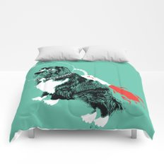 A Flying Dog In Outer Space Comforters