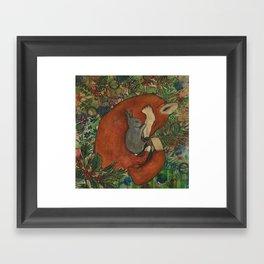 Mixed Media Fox and Bunny Framed Art Print