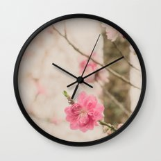 Spring Peach Blossom Wall Clock