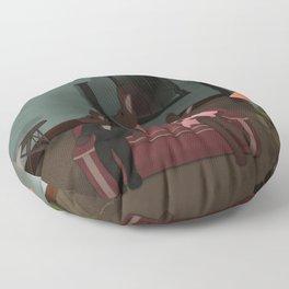 Bunnies - Who's at the Door? Floor Pillow
