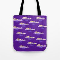 lakers Tote Bags featuring LAKERS HAND-DRAWING DESIGN by SUNNY Design