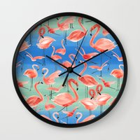 flamingos Wall Clocks featuring Flamingos  by Ninola