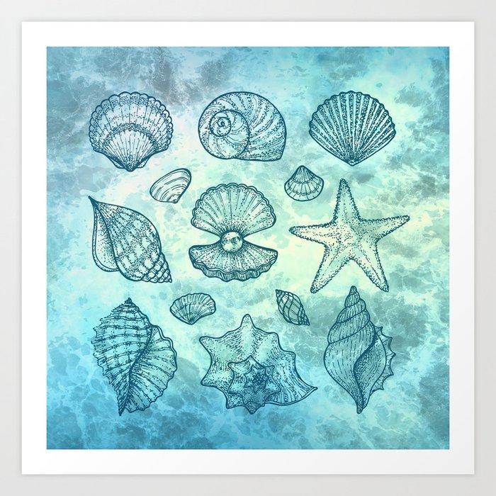 Blue Seashells Art Print