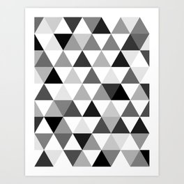 Black and white triangles Art Print