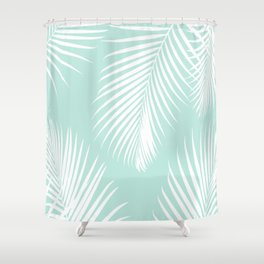Mint Tropical Pattern Shower Curtain