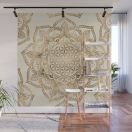 Flower of Life in Lotus - pastel golds and canvas Wall Mural