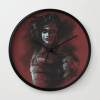 the winter soldier Wall Clocks featuring Winter Soldier - Colour Palette by charlotvanh