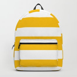Golden poppy -  solid color - white stripes pattern Backpack