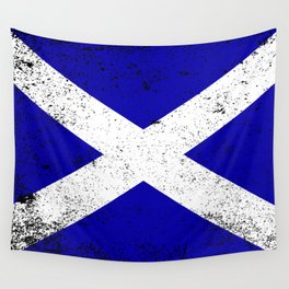 Scotish Flag Grunge Wall Tapestry