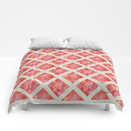 Orange Maidenhair and Flowers Sunprint Trellis Comforters