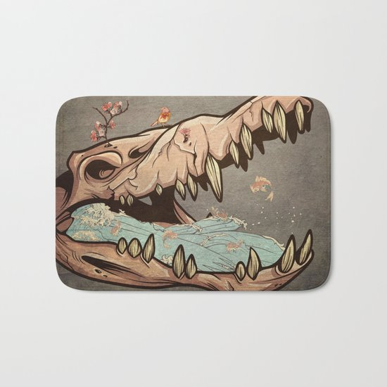 Animal Skull and birds Bath Mat