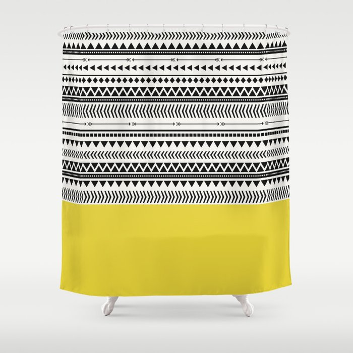 AZTEC AND CHARTREUSE Shower Curtain By Allyjcat