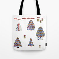 cape cod Tote Bags featuring Merry Christmas Cape Cod by KarenHarveyCox