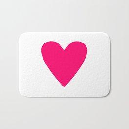Neon Pink Heart Bath Mat