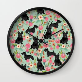 Scottish Terrier florals pattern dog breed dog art pet portraits pet friendly scottie gifts Wall Clock