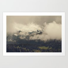 Mountains through the Fog Art Print