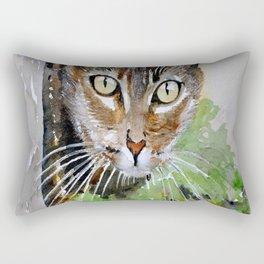 The Curious Tabby Cat Rectangular Pillow