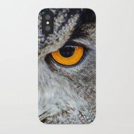 NIGHT OWL - EYE - CLOSE UP PHOTOGRAPHY - ANIMALS - NATURE iPhone Case
