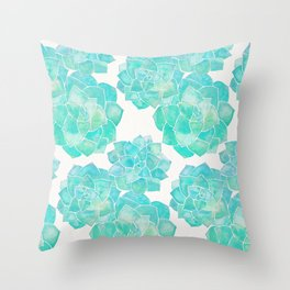 Rosette Succulents – Turquoise Palette Throw Pillow