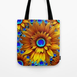 SURREAL GOLDEN SUNFLOWERS PEACOCK BLUE EYES Tote Bag