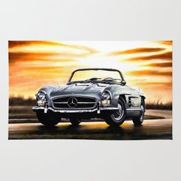 CLASSIC SL300 ROADSTER IN SILVER DURING SUNSET Rug