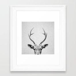 Deer - Black & White Framed Art Print