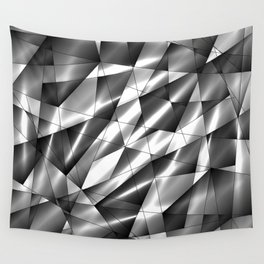 Exclusive mosaic pattern of chaotic black and white fragments of glass, metal, glare and ice floes. Wall Tapestry
