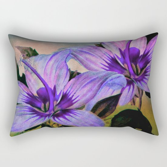 Vintage Painted Lavender Lily Rectangular Pillow