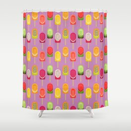 Fruit popsicles - pink version Shower Curtain
