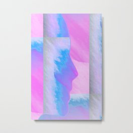 Pink Sky//Blue Face Metal Print