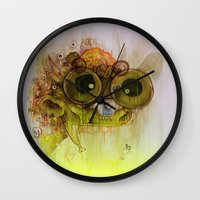 playstation Wall Clocks featuring Weedy Playstation Frankenstein by Kid Doom