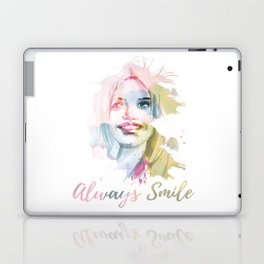 Always smile! Hand-painted portrait of a woman in watercolor. Laptop & iPad Skin